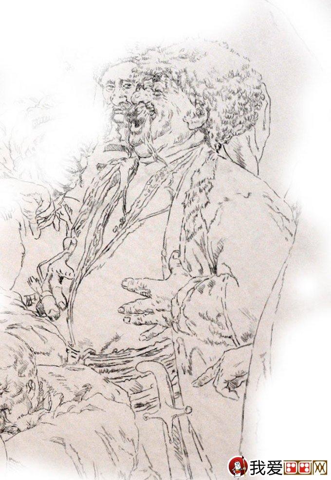 钢笔肖像画教程:用钢笔画人物肖像的名画临摹步骤(2)