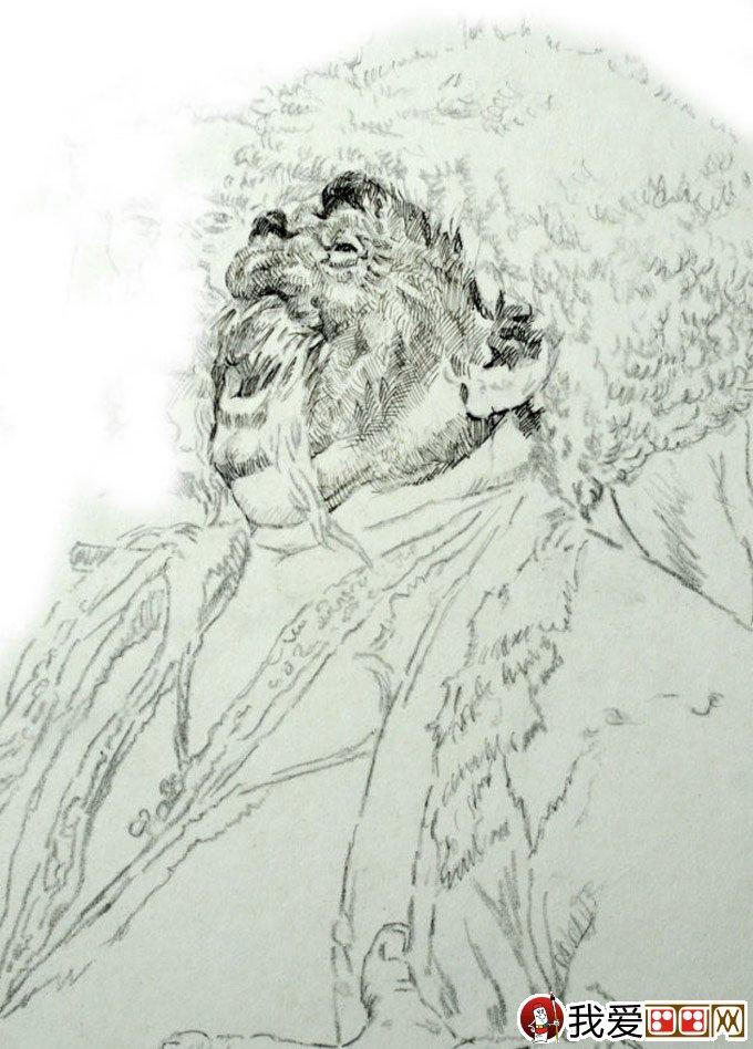 钢笔肖像画教程:用钢笔画人物肖像的名画临摹步骤(3)