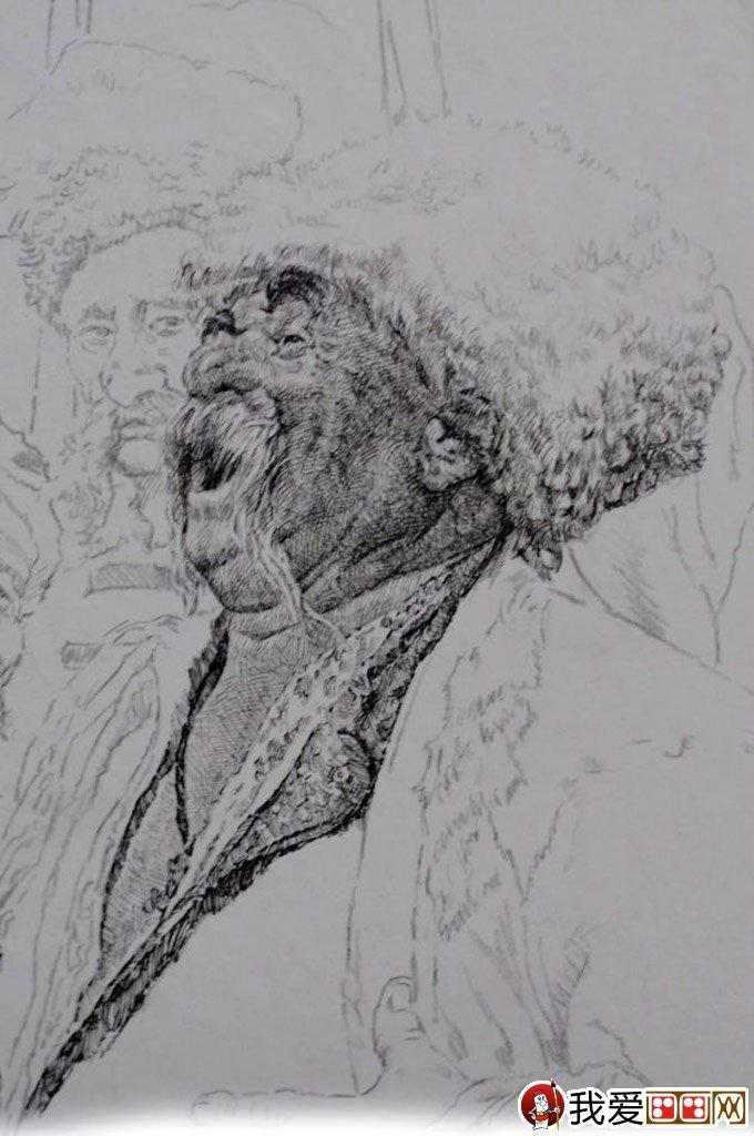 钢笔肖像画教程:用钢笔画人物肖像的名画临摹步骤(4)