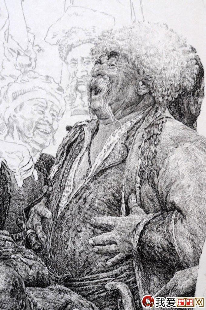 钢笔肖像画教程:用钢笔画人物肖像的名画临摹步骤(6)