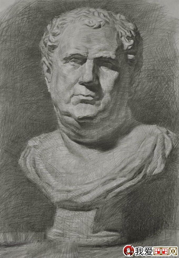 素描石膏像写生教程 罗马王石膏像素描绘画全过程 4图片