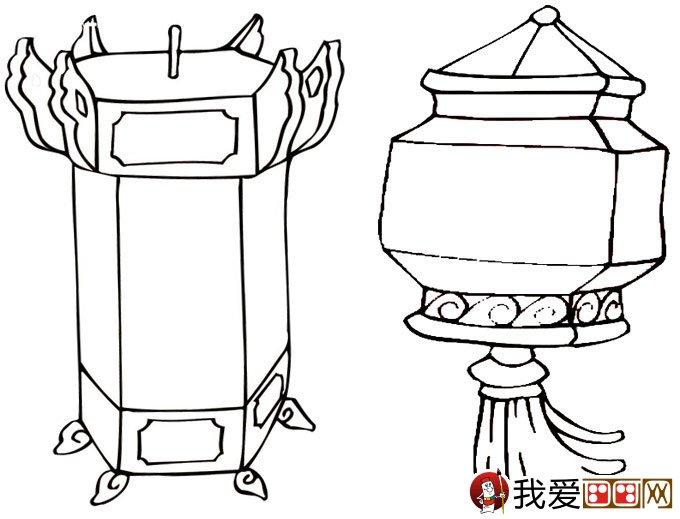 灯笼简笔画图片大全:新年和春节简笔画灯笼(2)