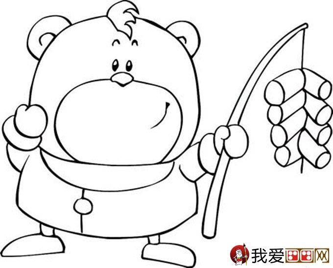 放鞭炮简笔画图片大全:新年儿童简笔画鞭炮-简笔画新年图画新年简