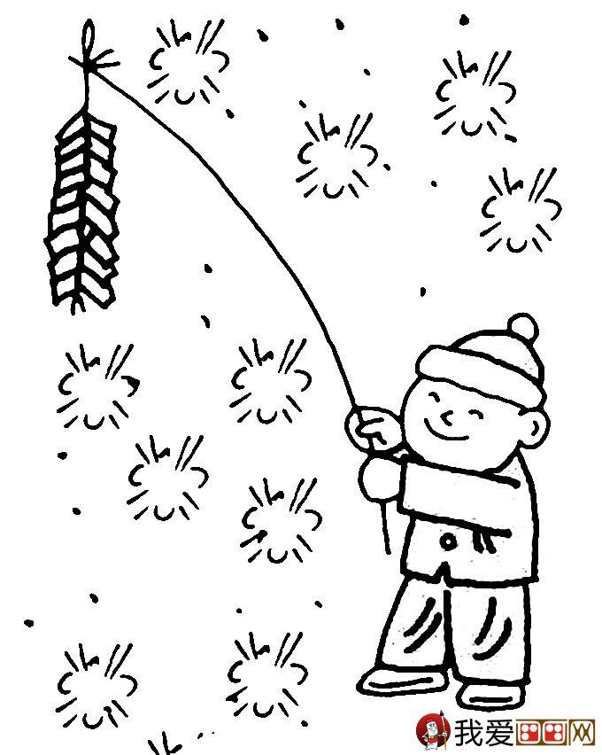 放鞭炮简笔画图片大全 新年儿童简笔画鞭炮 2
