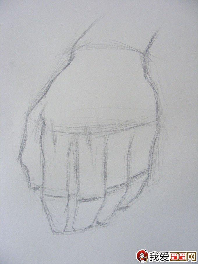 素描写生教程02先观察手的的姿态,看这个手姿态 是否自然,好看,模特