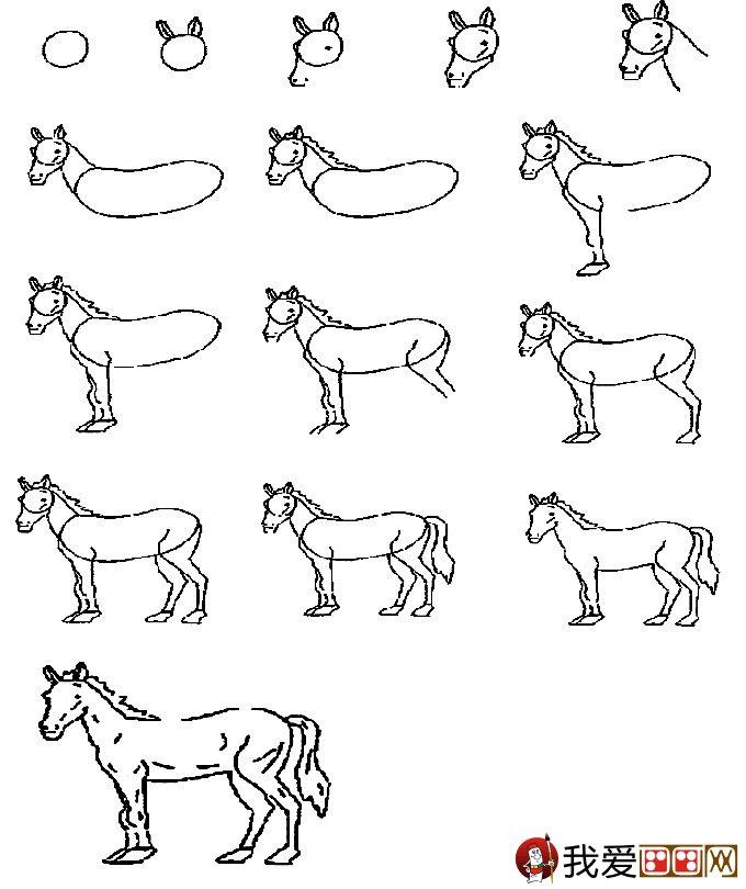 简笔画马的画法 教你怎么画马的简笔画教程