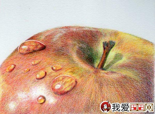 彩色铅笔画:苹果的彩色铅笔画图片图片