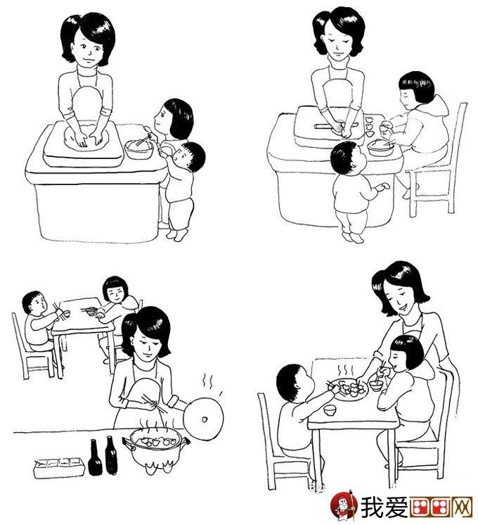 关于新年的简笔画:新年包饺子吃饺子简笔画