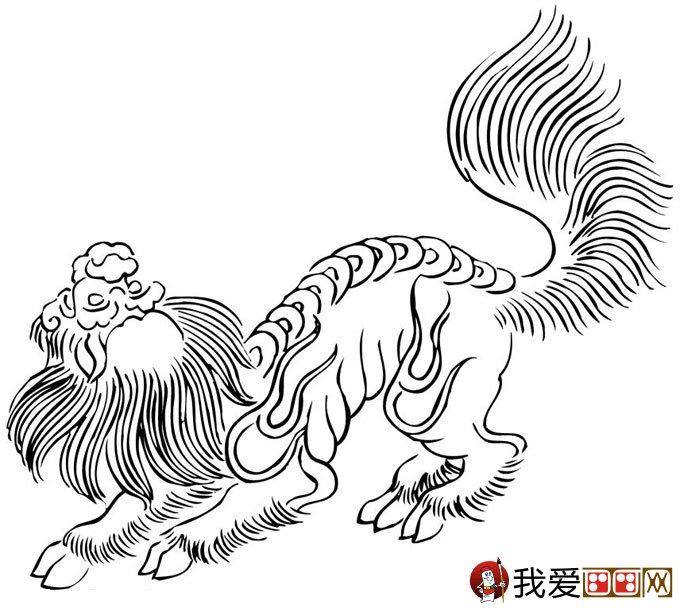 关于新年的简笔画:庆新年舞狮子简笔画