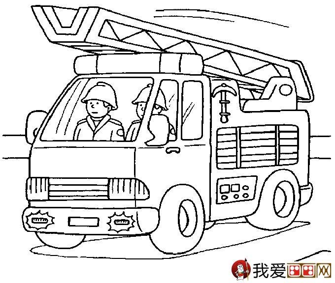 儿童消防车简笔画图片大全