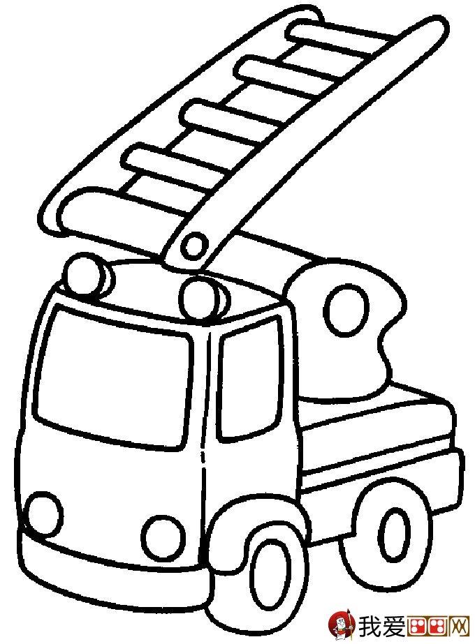 儿童消防车简笔画图片大全(2)图片