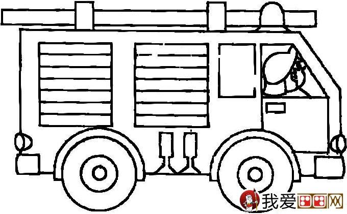 儿童消防车简笔画图片大全(2)