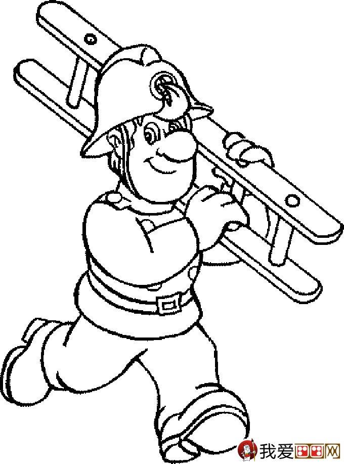 消防员简笔画,消防员救活灭火简笔画图片大全