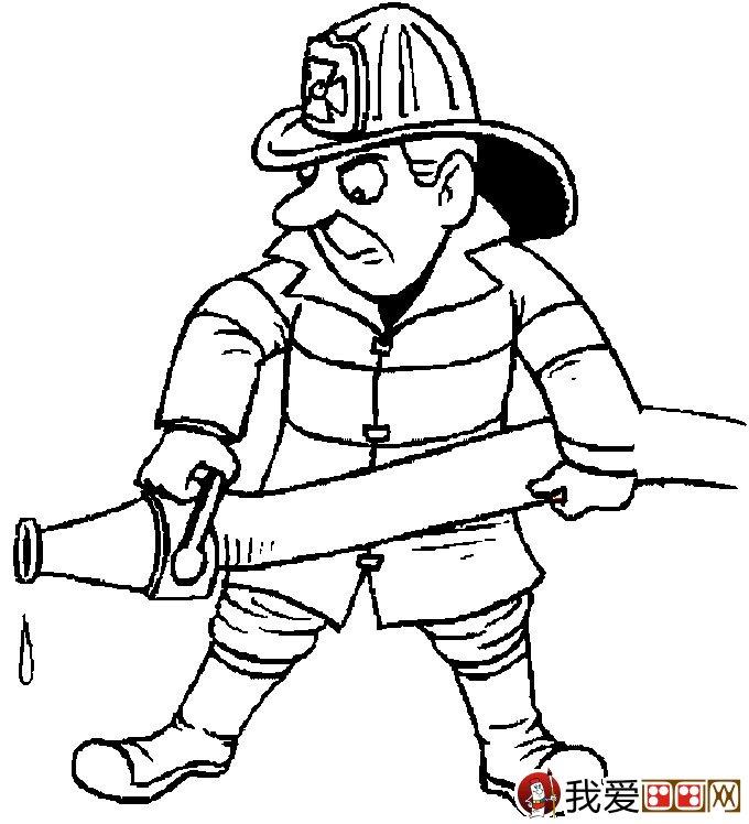 消防员简笔画,消防员救活灭火简笔画图片大全 2