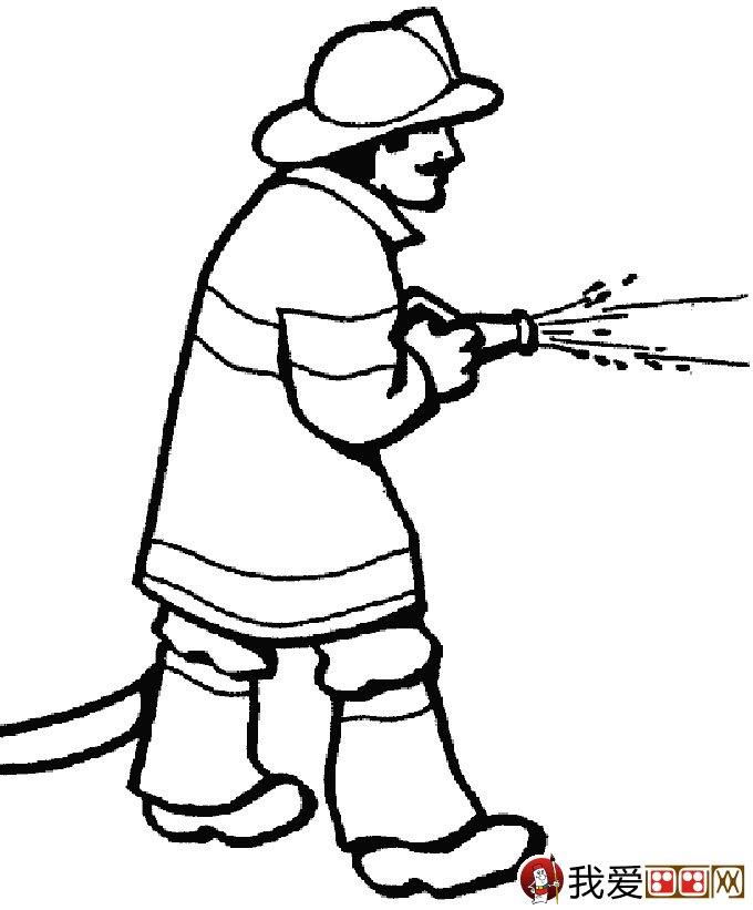 消防员简笔画,消防员救活灭火简笔画图片大全 4