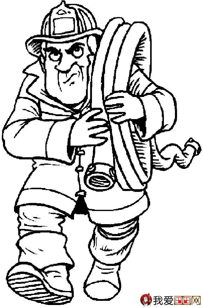 消防员简笔画,消防员救活灭火简笔画图片大全(7)_儿童-消防员简
