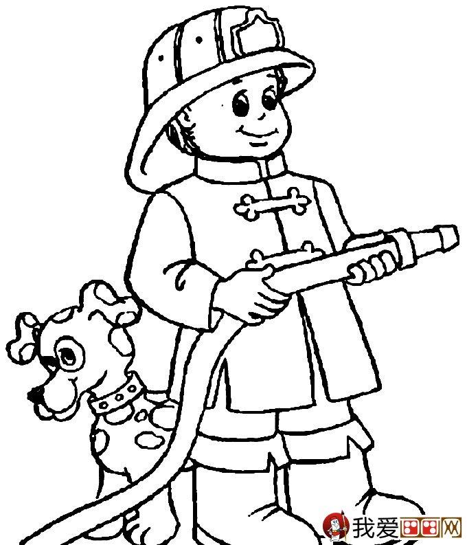 消防员简笔画,消防员救活灭火简笔画图片大全 5