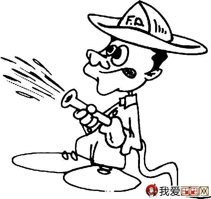 消防员简笔画,消防员救活灭火简笔画图片大全(6)