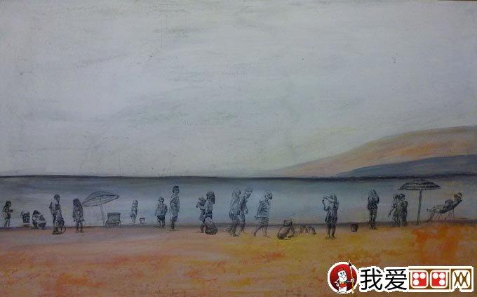 混合颜料绘画教程:白色岩石+丙烯酸+油画棒画风景画