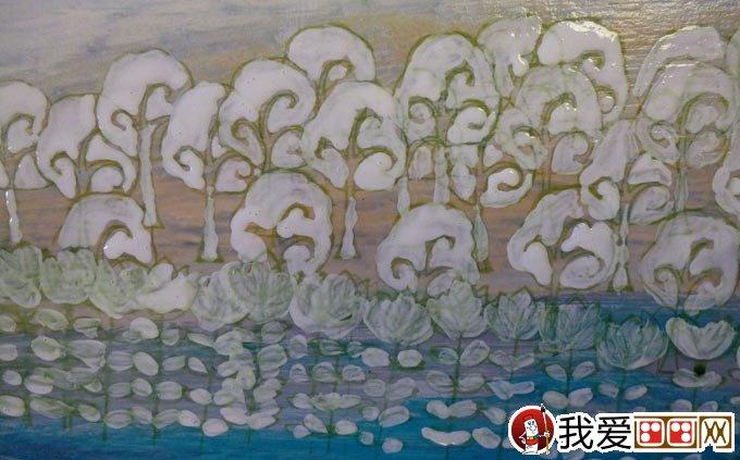 混合颜料绘画教程:白色岩石 丙烯酸 油画棒画风景画(6