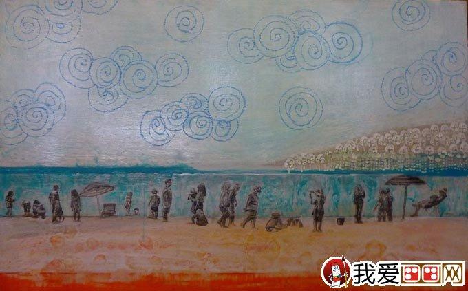 混合颜料绘画教程:白色岩石 丙烯酸 油画棒画风景画(7