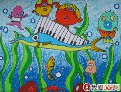 幼儿油画棒绘画作品:动物油画棒儿童画大全图片
