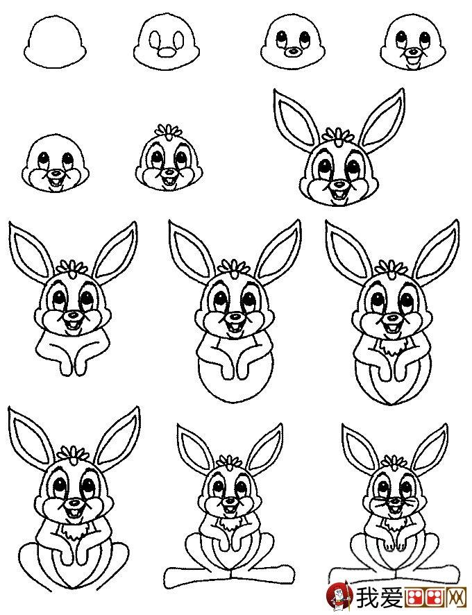 3个简笔画兔子绘画教程 兔子简笔画画法 3