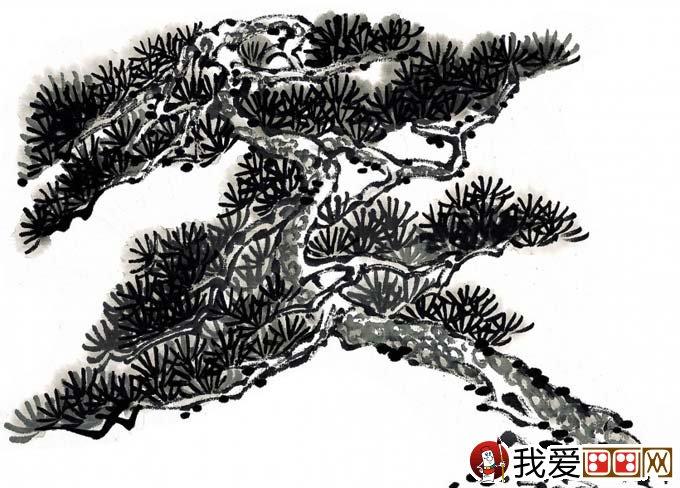 国画松树的画法:松柏松树水墨画图片大全69p之水墨黑白篇(2)
