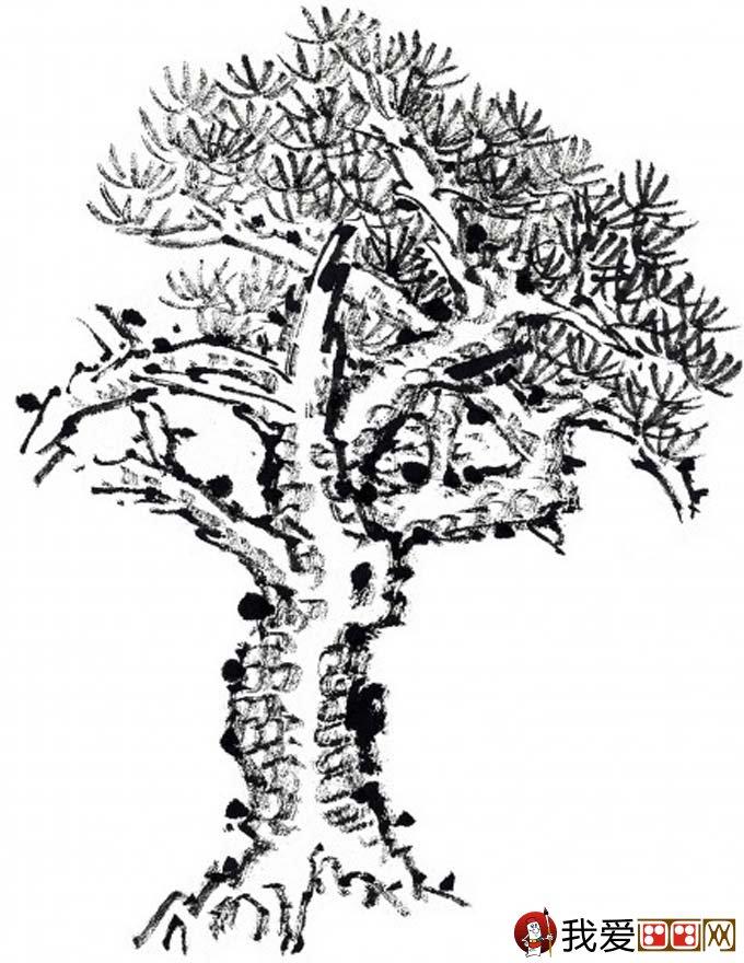 国画松树的画法:松柏松树水墨画图片大全69p之水墨黑白篇(3)