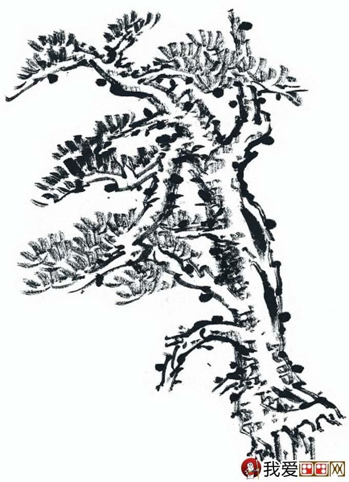 松柏松树水墨画图片大全69p之水墨黑白篇(5)