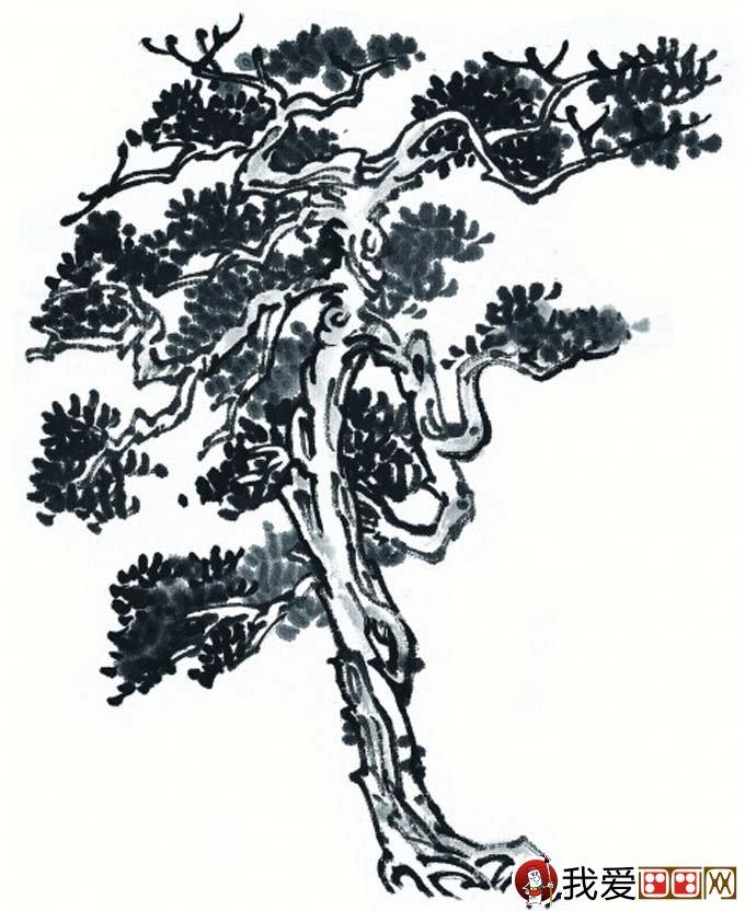 国画松树的画法:松柏松树水墨画图片大全之黑白水墨