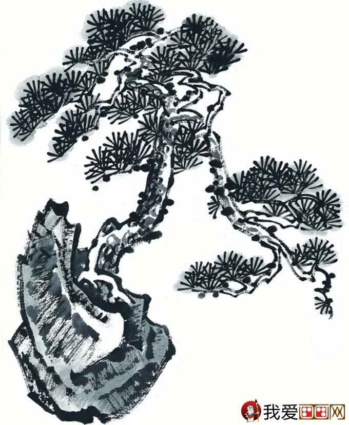 国画松树的画法:松柏松树水墨画图片大全69p之水墨黑白篇(11)