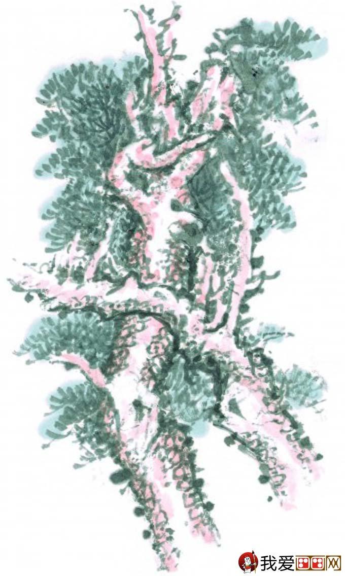 国画松树的画法:松柏松树水墨画图片大全69p之水墨黑白篇(14)