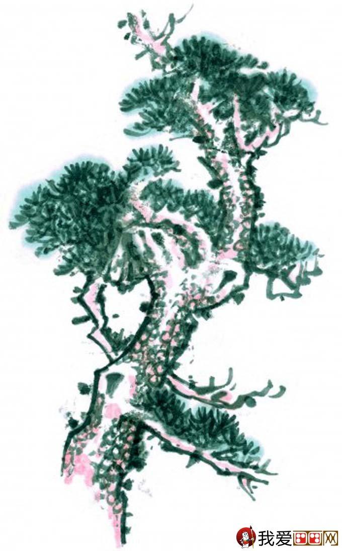 国画松树的画法:松柏松树水墨画图片大全69p之设色