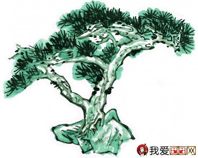 国画松树的画法:松柏松树水墨画图片大全69p之设色篇