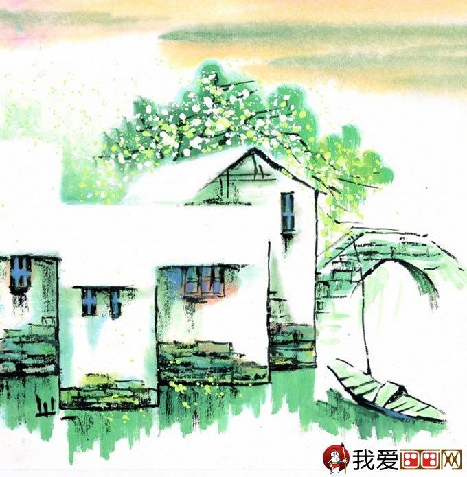 山水水墨画:江南水乡冬天彩墨