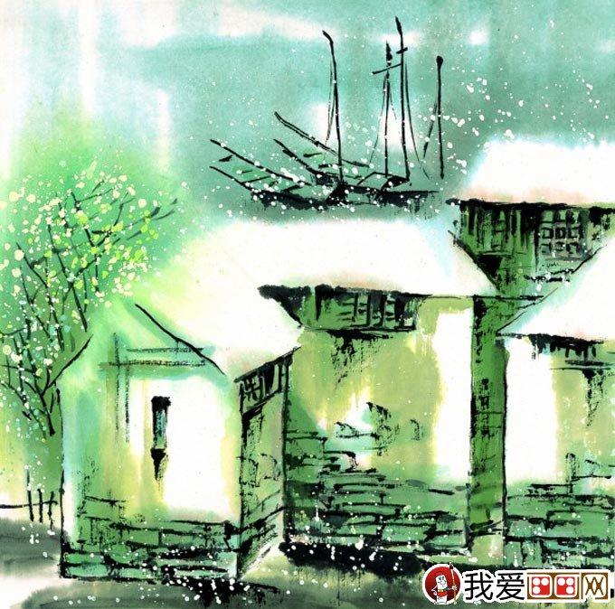 江南水乡冬天彩墨国画风景图片04