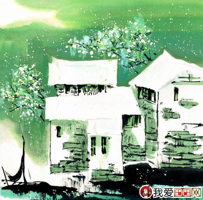 江南水乡冬天彩墨国画风景图片05