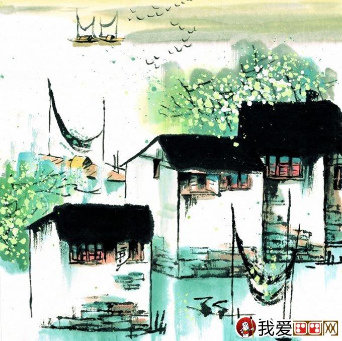 江南水乡冬天彩墨国画风景图片06