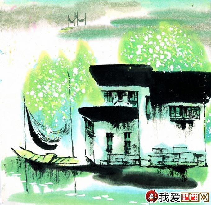 山水水墨画:江南水乡冬天彩墨国画风景图片(09)