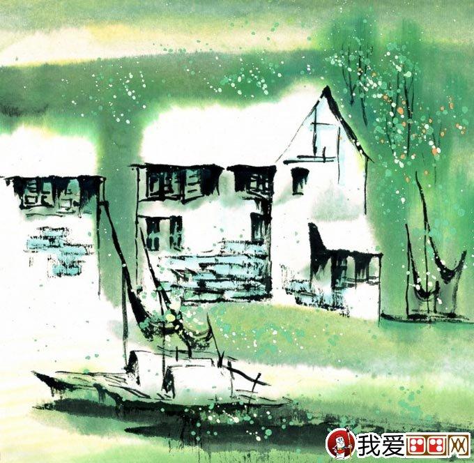 江南水乡冬天彩墨国画风景图片10
