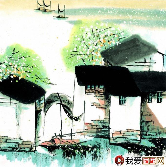 山水水墨画:江南水乡冬天彩墨国画风景图片(12)