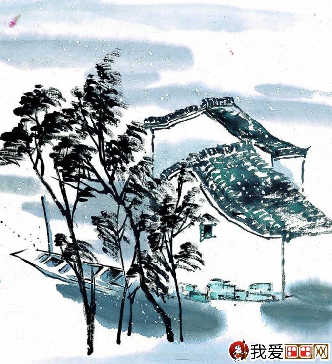 江南水乡冬天彩墨国画风景图片13