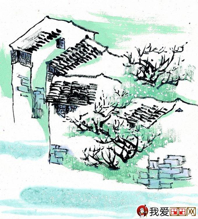 江南水乡冬天彩墨国画风景图片14
