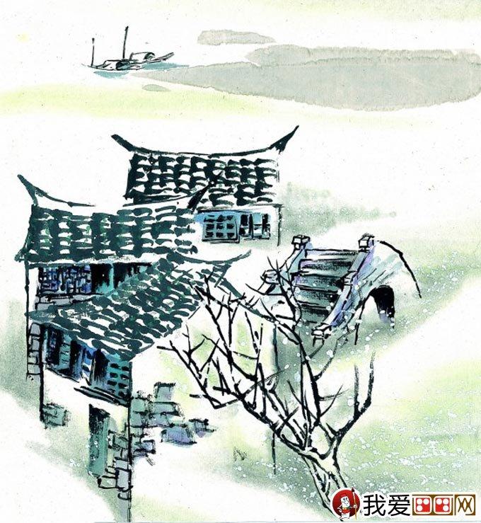 江南水乡冬天彩墨国画风景图片15