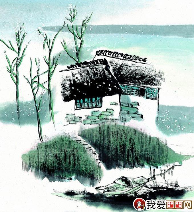 江南水乡冬天彩墨国画风景图片16