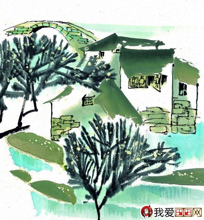 江南水乡冬天彩墨国画风景图片50副高清大图(9)