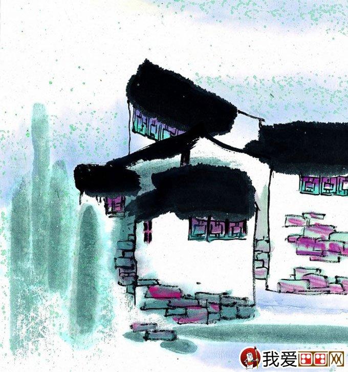 江南水乡冬天彩墨国画风景图片50副高清大图