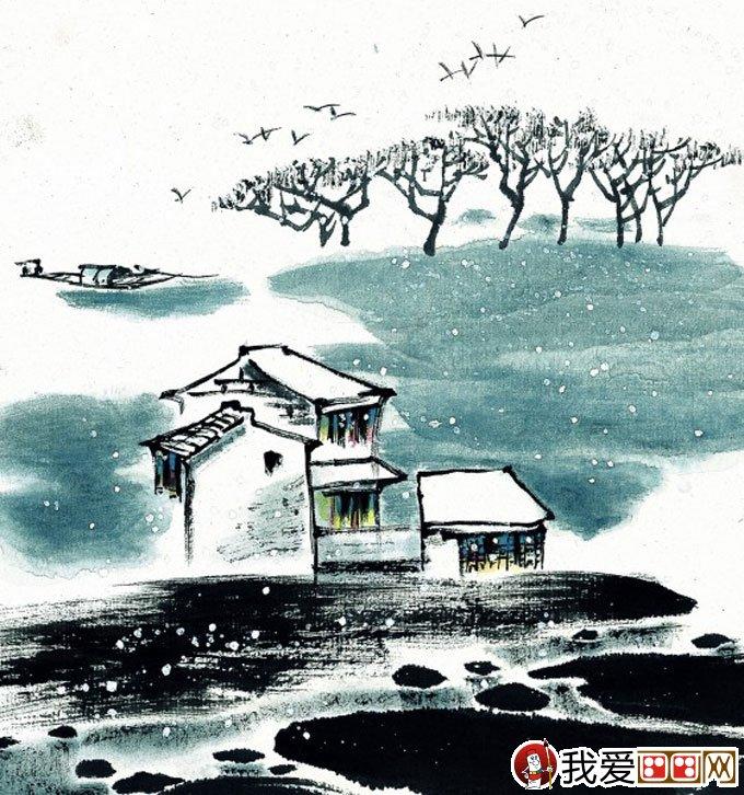 山水水墨画:江南水乡冬天彩墨国画风景图片(33)