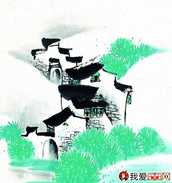 山水水墨画:江南水乡冬天彩墨国画风景图片(37)